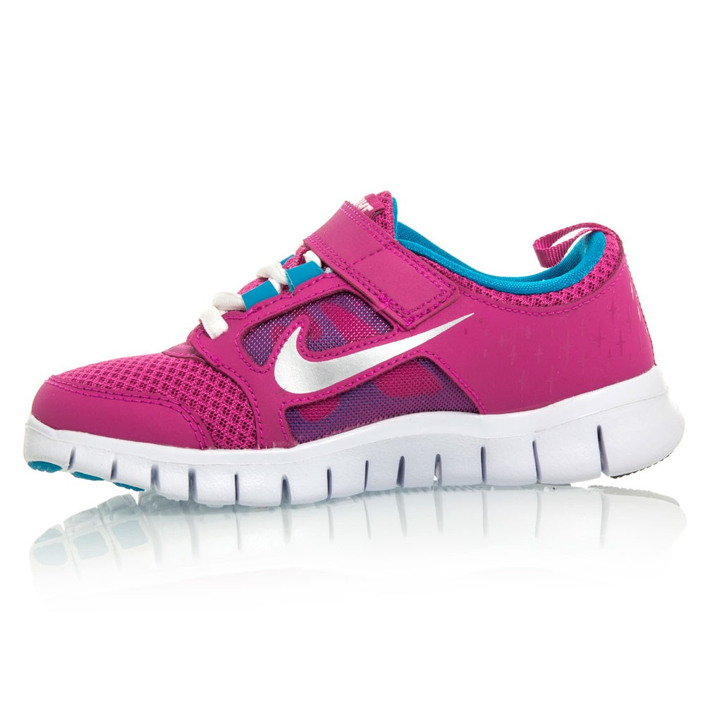 Nike Free Run 3 PSV - Pre-School Girls Running Shoes - Pink/White/Blue