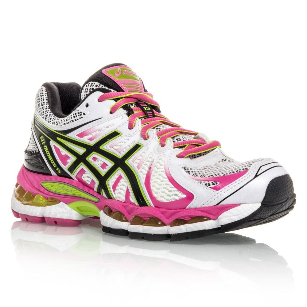 Asics Gel Nimbus 15 - Womens Running Shoes - White/Pink/Green/Black