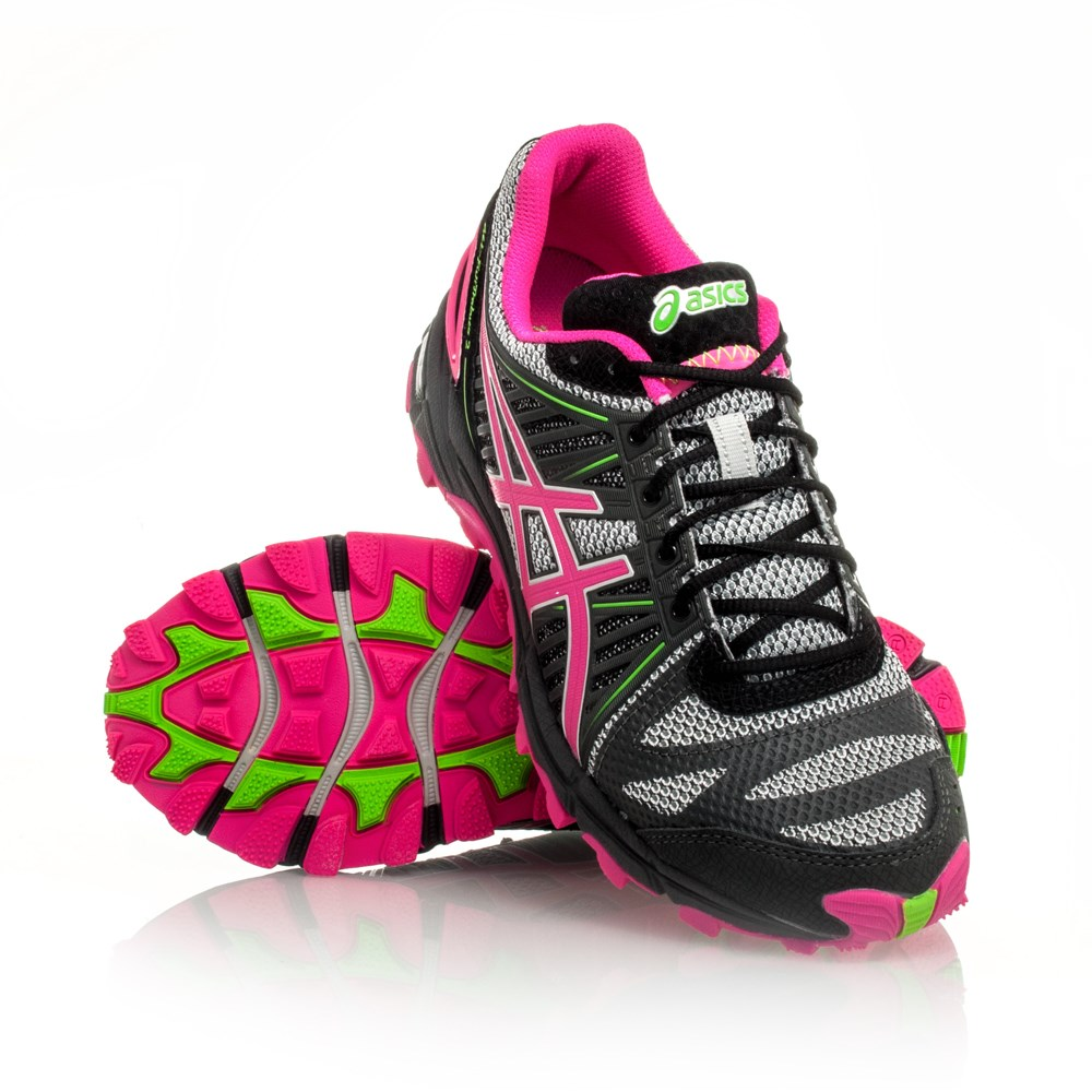 11 off asics gel fuji trabuco 2 womens trail running shoes grey neon pink neon green. Black Bedroom Furniture Sets. Home Design Ideas