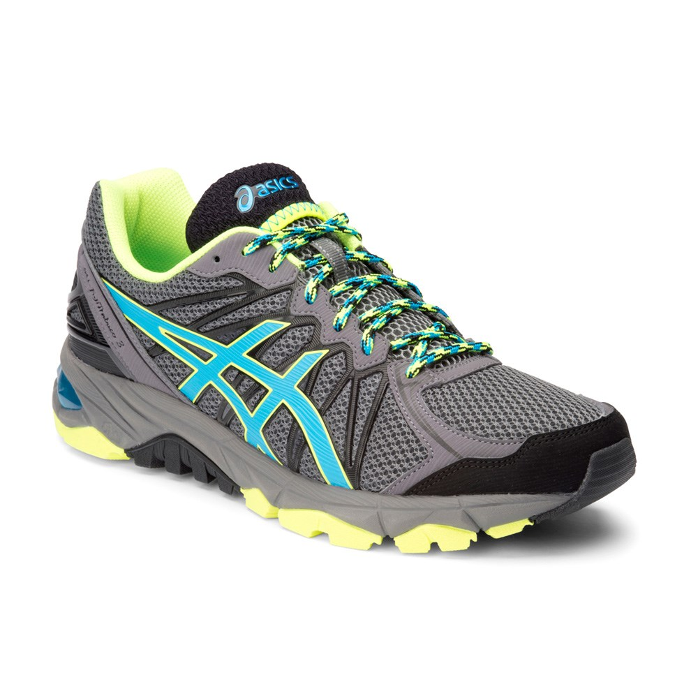 buy asics gel fuji trabuco 3 mens trail running shoes grey blue yellow slashsport. Black Bedroom Furniture Sets. Home Design Ideas
