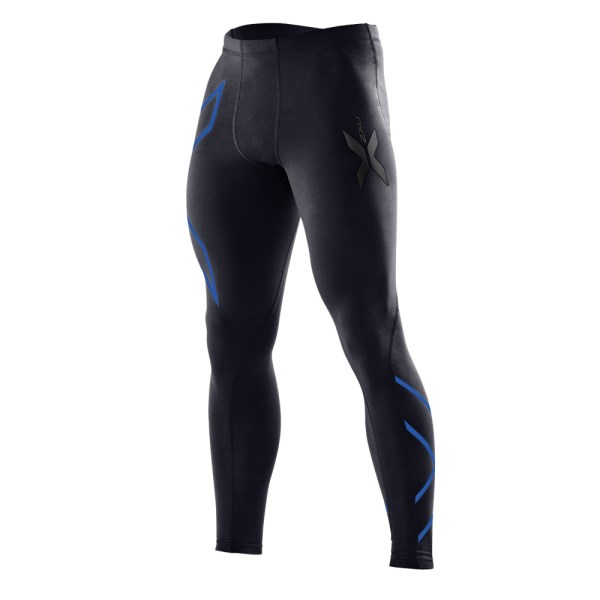 2XU Mens Compression Tights - Black/Prussian Blue