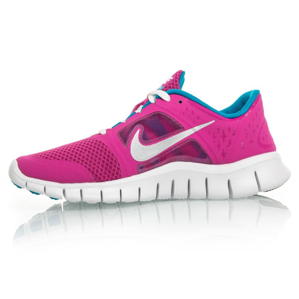 Nike Free Run 3 GS - Junior Girls Running Shoes - Pink/White/Blue