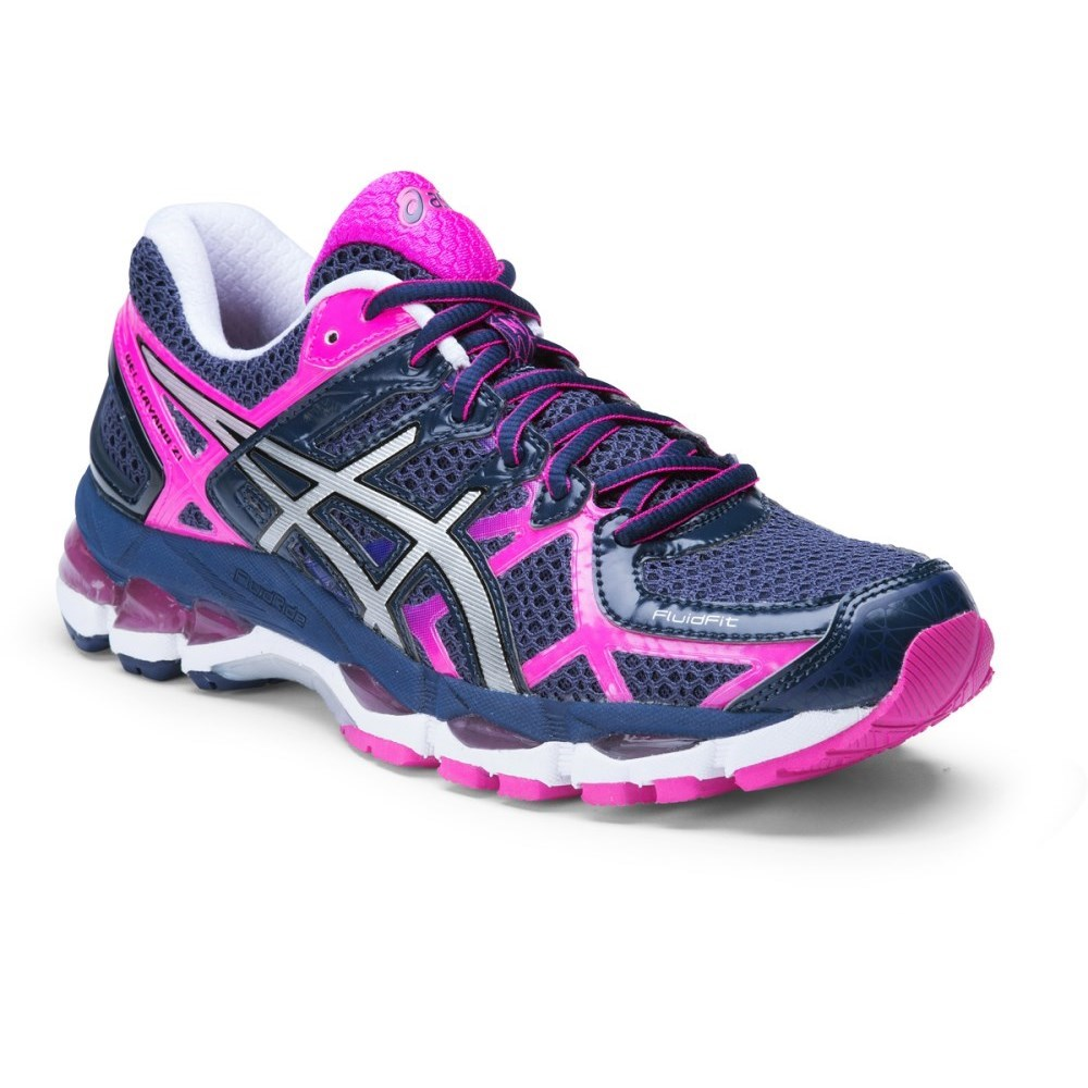 buy asics gel kayano 21 womens running shoes indigo blue silver pink glow slashsport. Black Bedroom Furniture Sets. Home Design Ideas