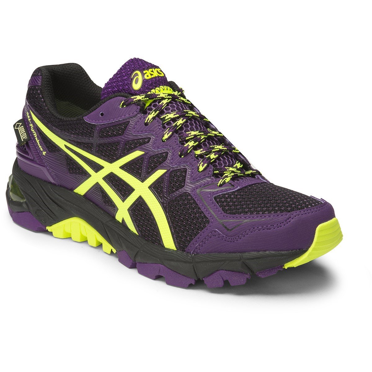 buy asics gel fuji trabuco 4 g tx womens trail running shoes black flash yellow plum. Black Bedroom Furniture Sets. Home Design Ideas