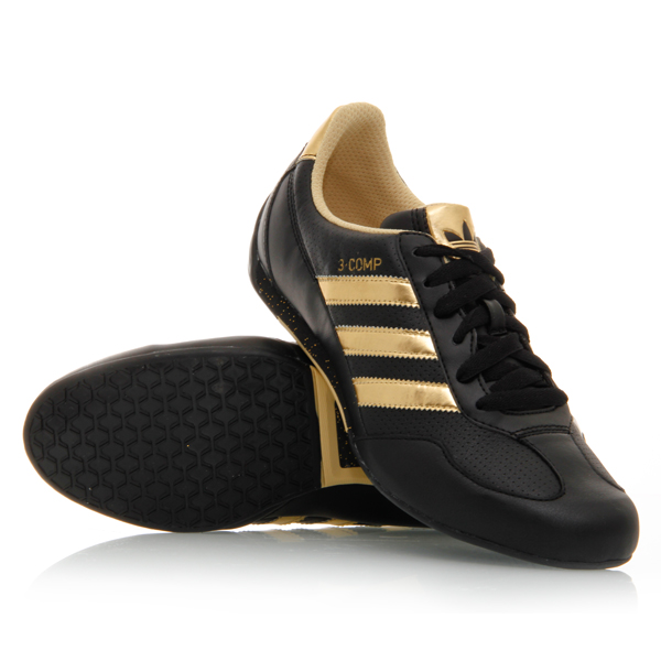 45 adidas 3 comp womens casual shoes black gold