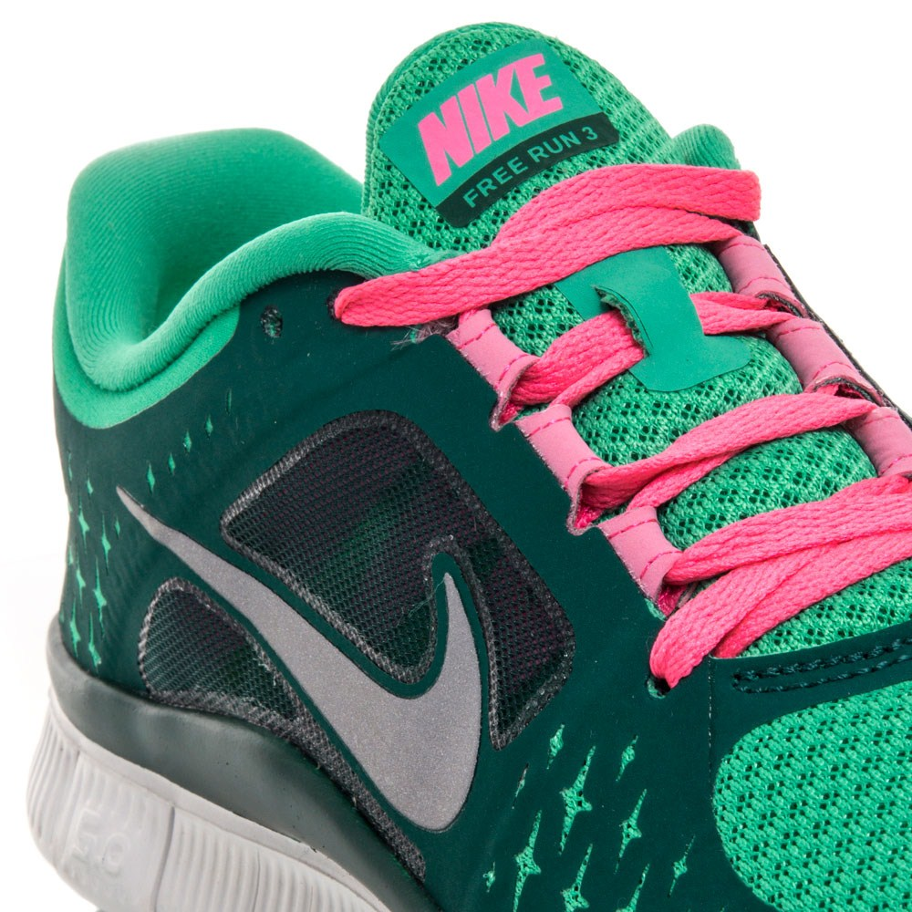 Nike Free Run+ 3 - Womens Running Shoes - Green/Pink/White