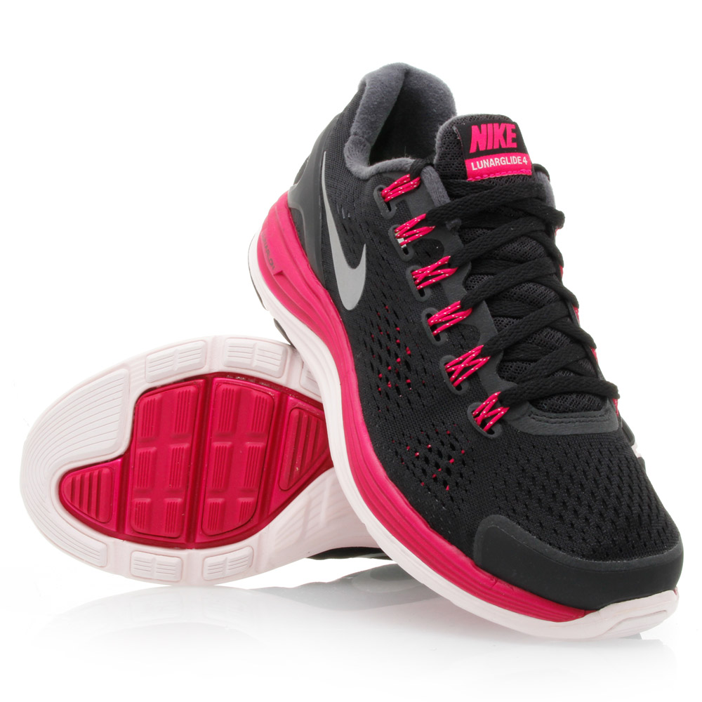 Nike LunarGlide+ 4 - Womens Running Shoes - Black/Berry/White/Silver